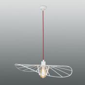 Светильник подвесной белый/красный LADY, диаметр 60 см, изогнутый