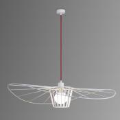 Светильник подвесной белый/красный LADY, диаметр 80, изогнутый