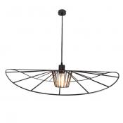 Светильник подвесной черный LADY, диаметр 80 см, изогнутый