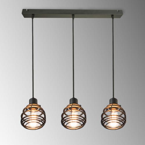 Светильник подвесной, 3 лампы, черный ARA